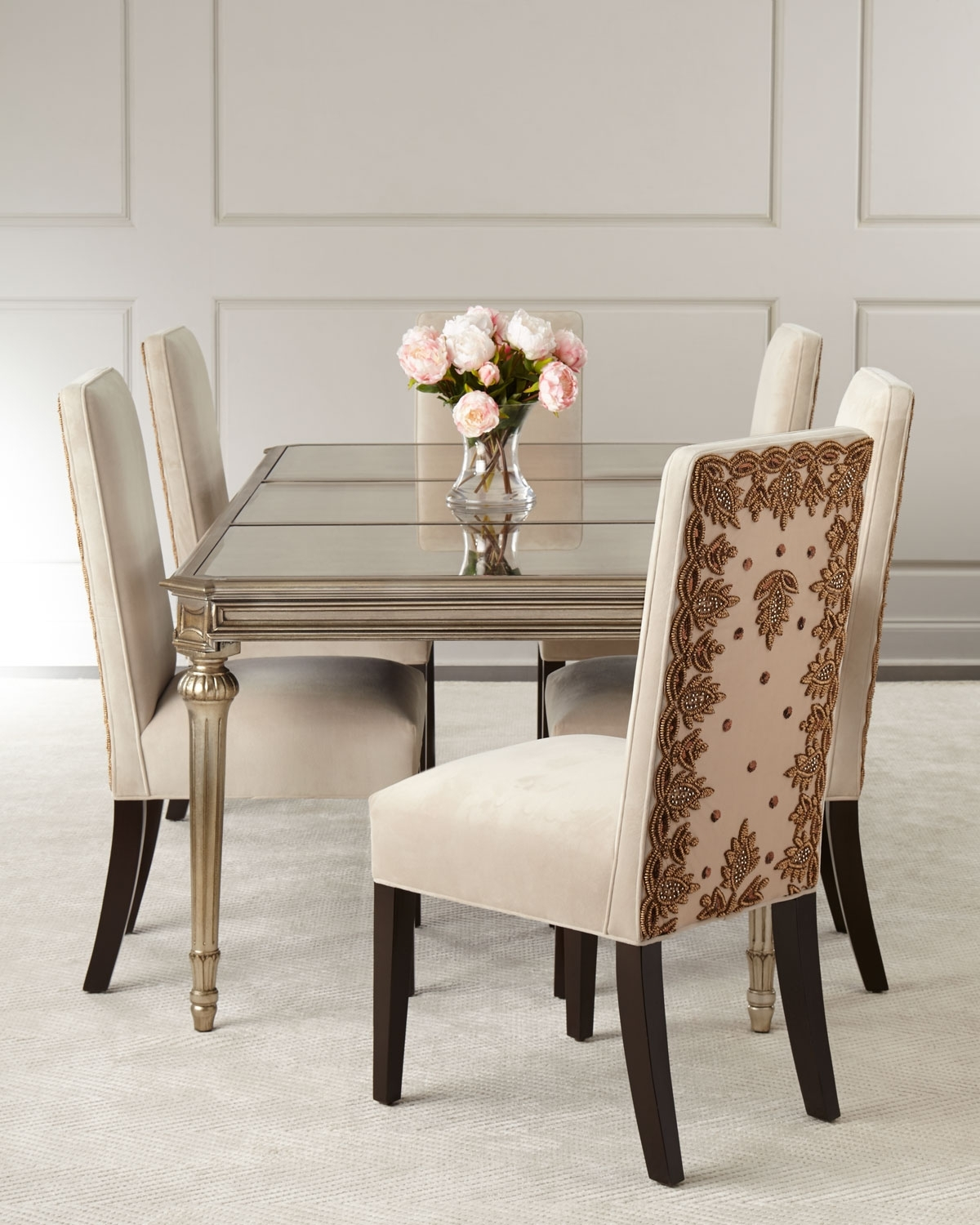 Roberta Antiqued Mirrored Dining Table (View 19 of 25)