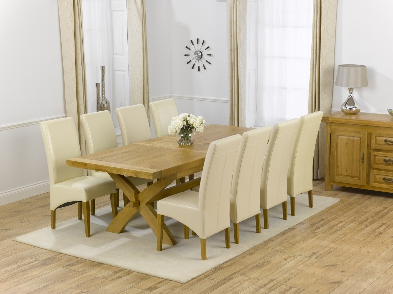 Roma Dining Tables And Chairs Sets Regarding Most Recently Released Canterbury Solid Oak Dining Table + 8 Roma Dining Chair Dining Set (View 18 of 25)