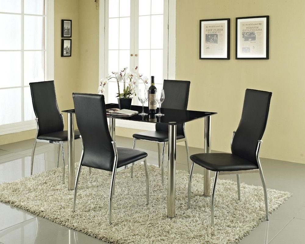 Roma Dining Tables And Chairs Sets Throughout 2017 Rome Black Glass #diningtable 4 Seater Set Black Tempered Glass (View 13 of 25)