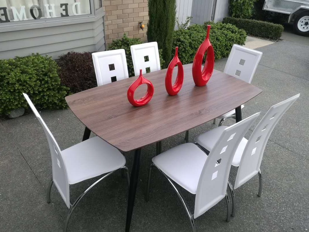 Roma Dining Tables For 2018 Roma* 7Pc Dining Suite – 6 White Chairs (View 16 of 25)