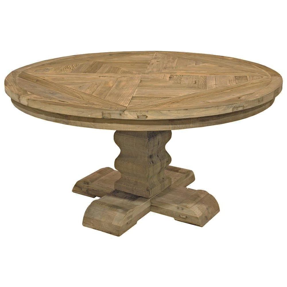 Romand French Country Reclaimed Elm Parquet Round Dining Table Inside Recent Parquet Dining Tables (View 14 of 25)