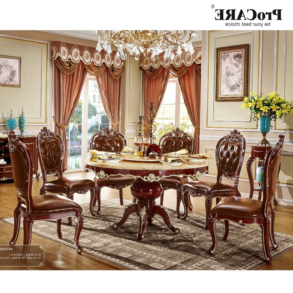 Round 6 Seater Dining Tables In Well Liked 6 Seater Imported Wooden Round Marble Dining Table And Chairs Set (View 16 of 25)