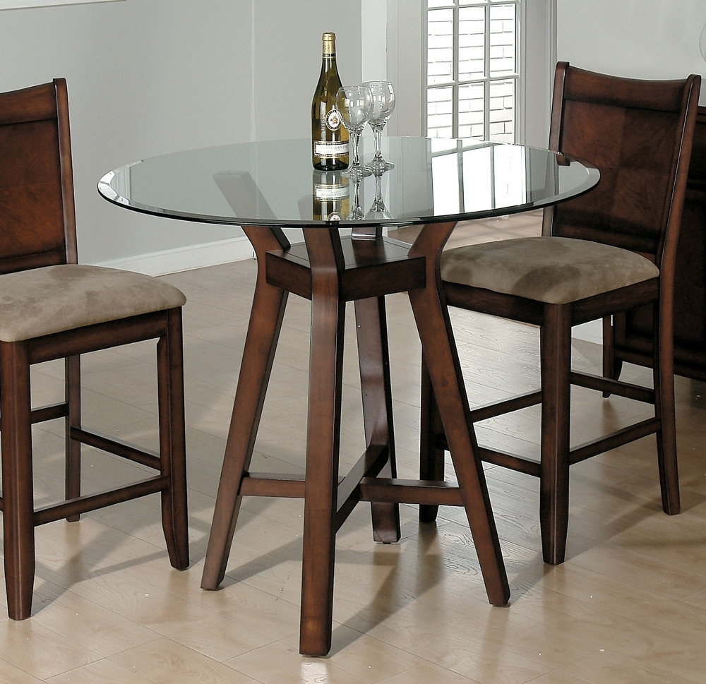 Round Bar Style Glass Top Tables With Dark Brown Solid Wood Finish Pertaining To Best And Newest Dining Tables With 2 Seater (View 22 of 25)