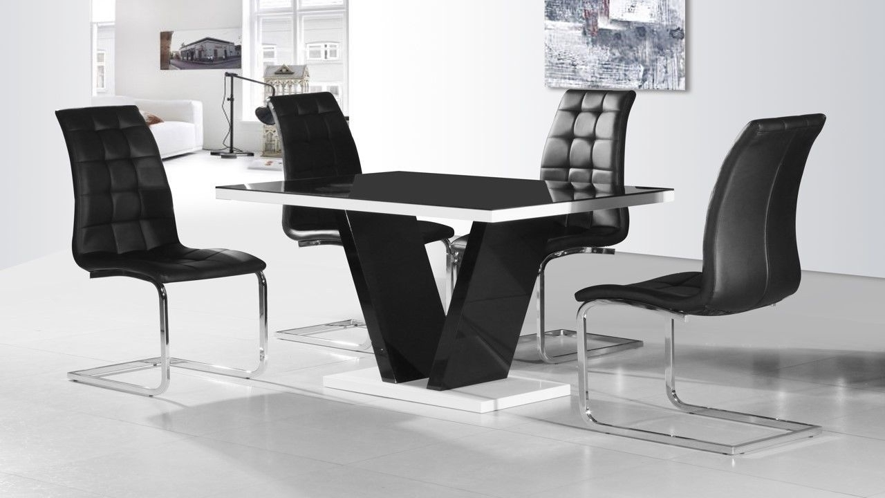 Round Black Glass Dining Tables And 4 Chairs Regarding Trendy Modern Black Glass High Gloss Dining Table And 4 Chairs Ebay, Black (View 20 of 25)