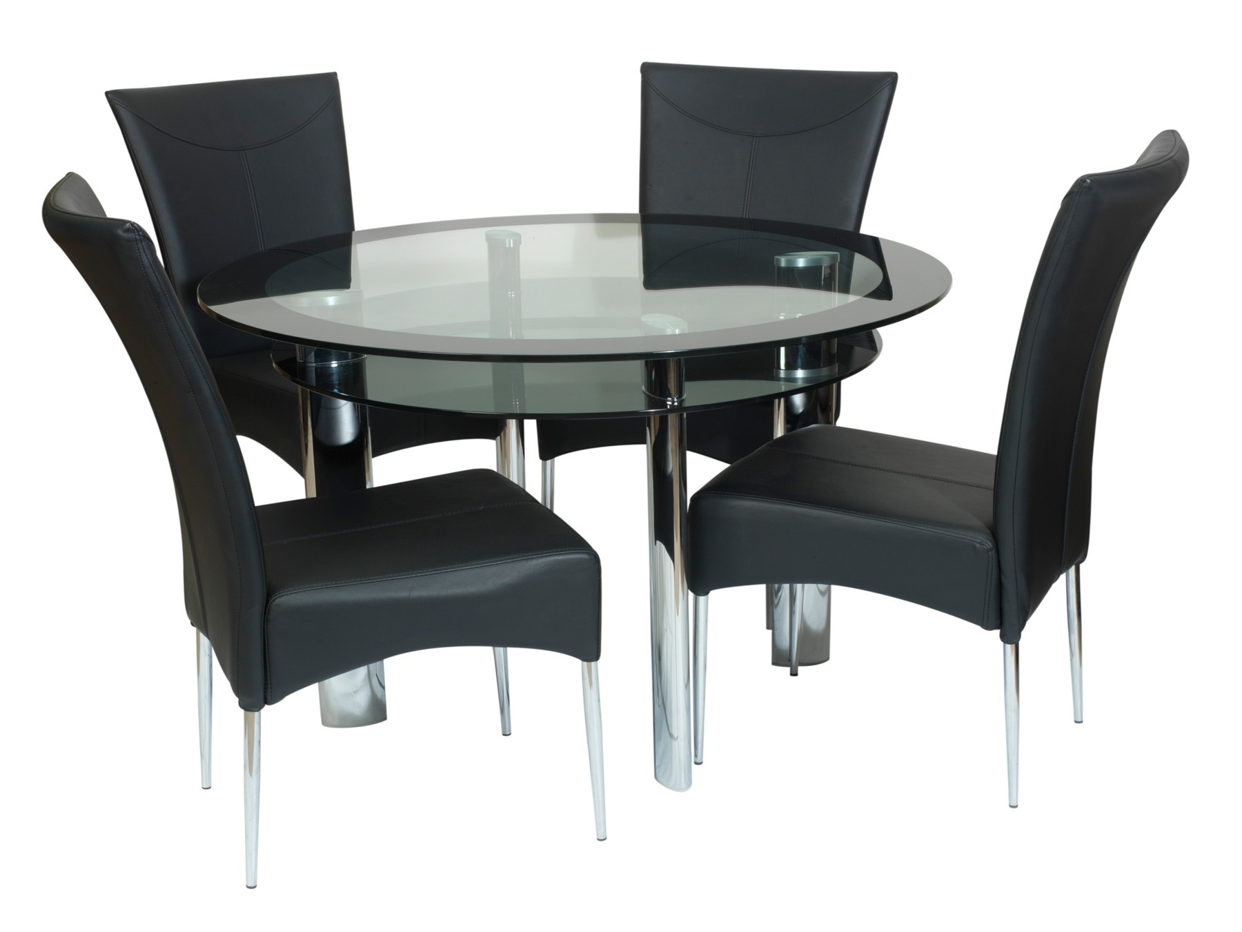 Round Black Glass Dining Tables And 4 Chairs Throughout Well Known Coco Round Black Glass Dining Table With 4 Chairs (View 3 of 25)