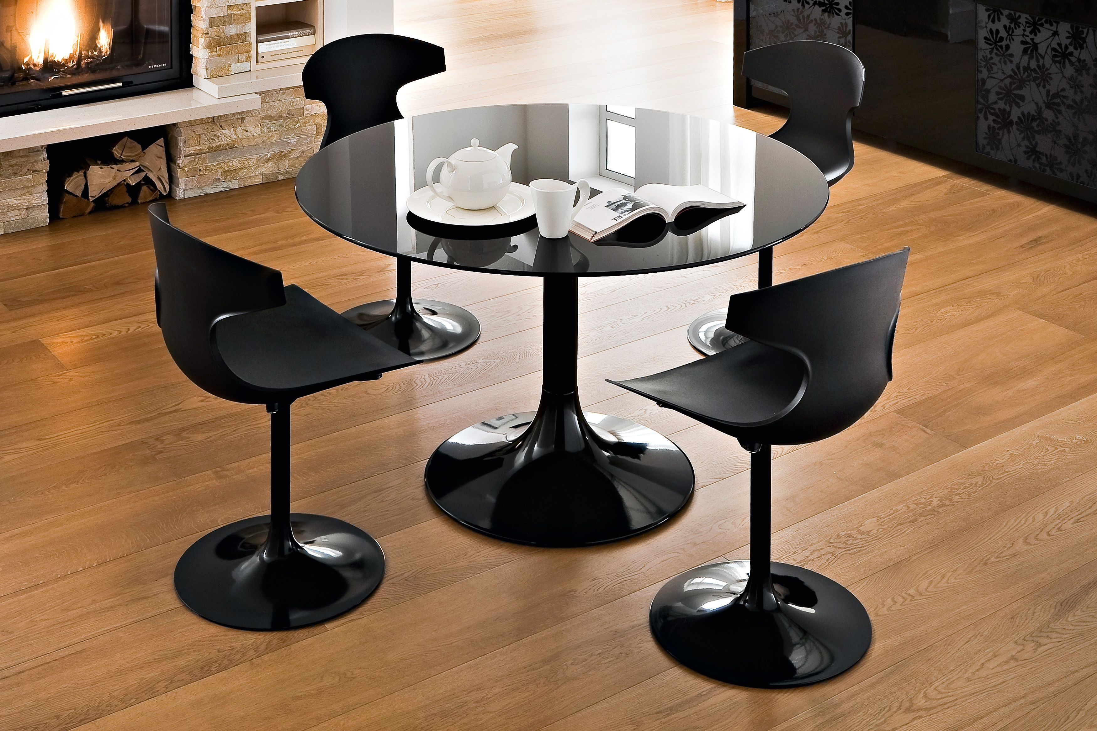 Round Black Glass Dining Tables And Chairs Within Most Current Round Black Glass Dining Table With Round Base Addedfour Black (View 7 of 25)