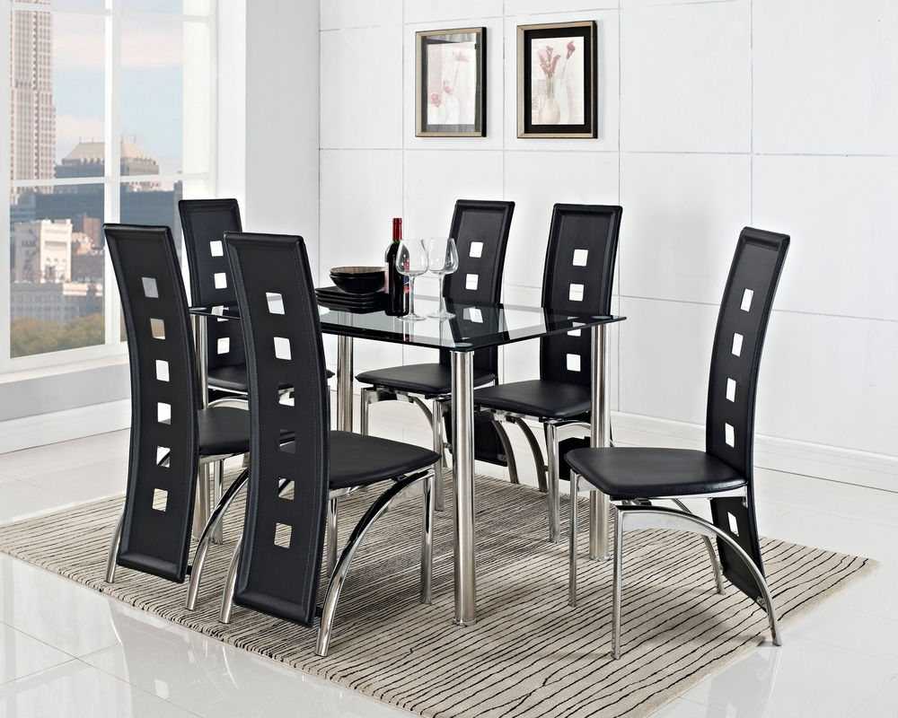 Round Black Glass Top Dining Table With Steel Based Combined With With Regard To Most Recently Released Glass Dining Tables And Leather Chairs (View 21 of 25)