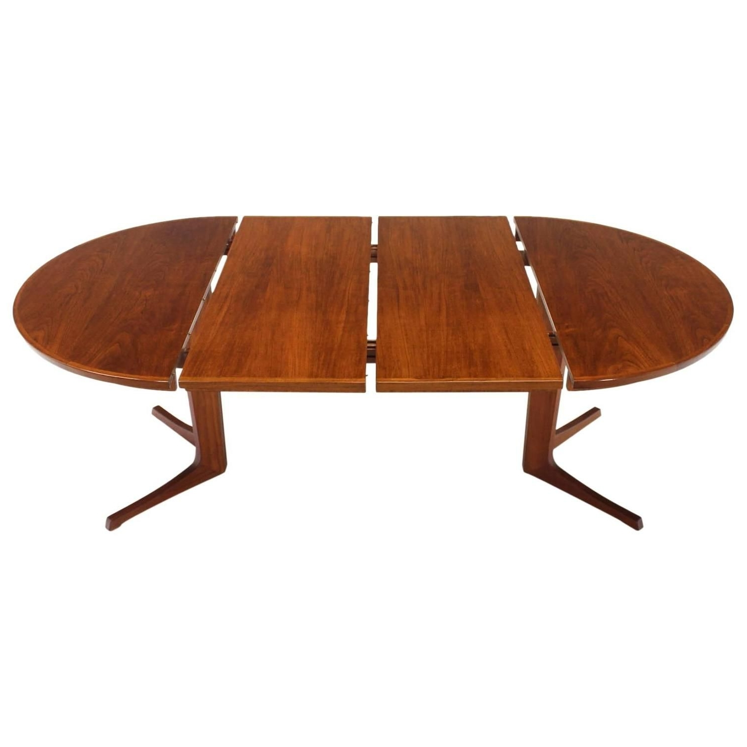 Round Danish Mid Century Modern Teak Dining Table With Two Leaves Inside Latest Oval Dining Tables For Sale (View 19 of 25)