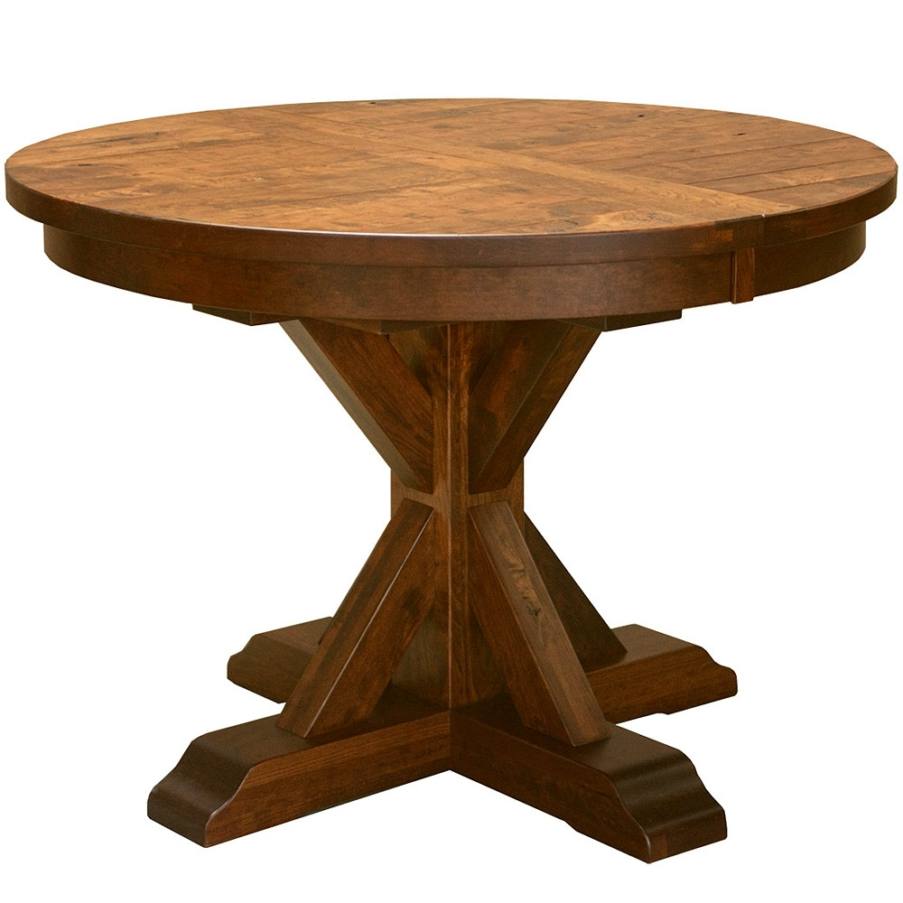 Round Dining/kitchen Table: Pedestal Table Solid Wood Plank Table For Current Craftsman Round Dining Tables (View 11 of 25)