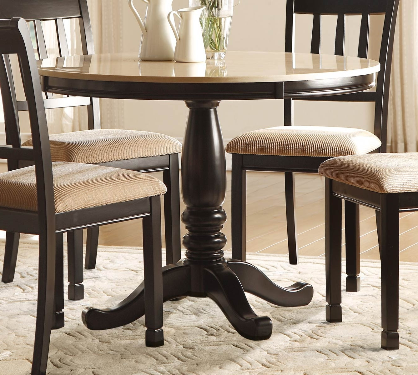 Round Dining Tables With Most Up To Date Homelegance Dearborn Round Dining Table – Faux Marble Top – Black (View 9 of 25)