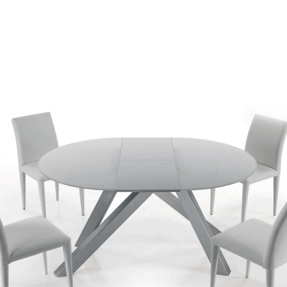 Round Extending Dining Table Adelfo, Made Of Glass And Steel, Ø 120Cm With Regard To Well Liked Glass Round Extending Dining Tables (View 21 of 25)