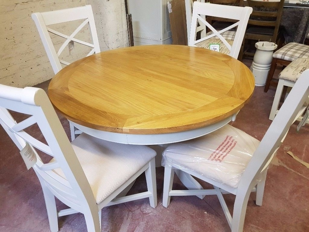 Round Extending Dining Tables And Chairs With Regard To Most Current Ex Display Bordeaux Round Extending Dining Table + 4 Chairs (View 21 of 25)