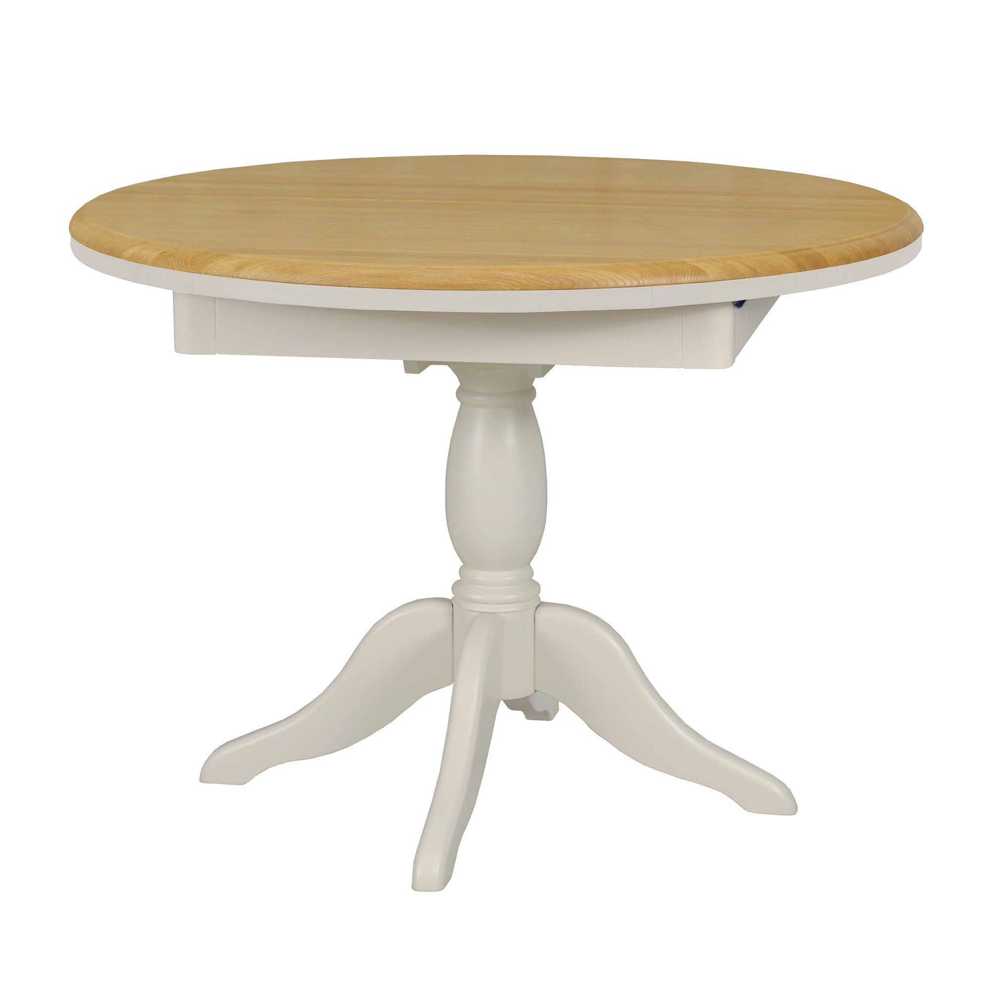 Round Extending Oak Dining Tables And Chairs Intended For Preferred Olivia Oak/painted 103 106 145Cm Round Extending Dining Table (View 18 of 25)