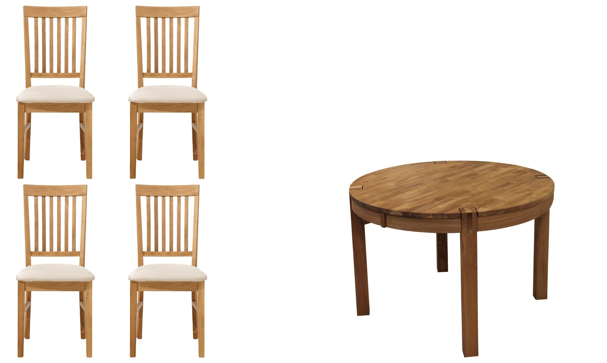Round Extending Oak Dining Tables And Chairs With Regard To Recent Royal Oak – Round Extending Dining Table Sets – Fishpools (View 7 of 25)