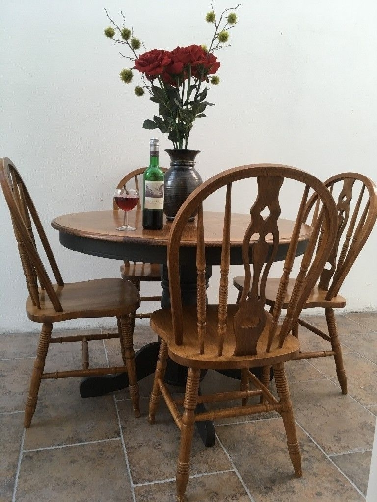 Round Extending Vintage Black And Oak Coloured Dining Table With 4 Intended For Most Recent Colourful Dining Tables And Chairs (View 19 of 25)