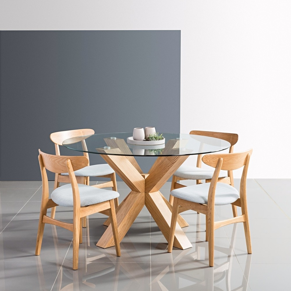 Round Glass And Oak Dining Tables For Most Popular Oscar Round Dining Table – Glass + Solid Oak Timber – 130Cm Diameter (View 13 of 25)