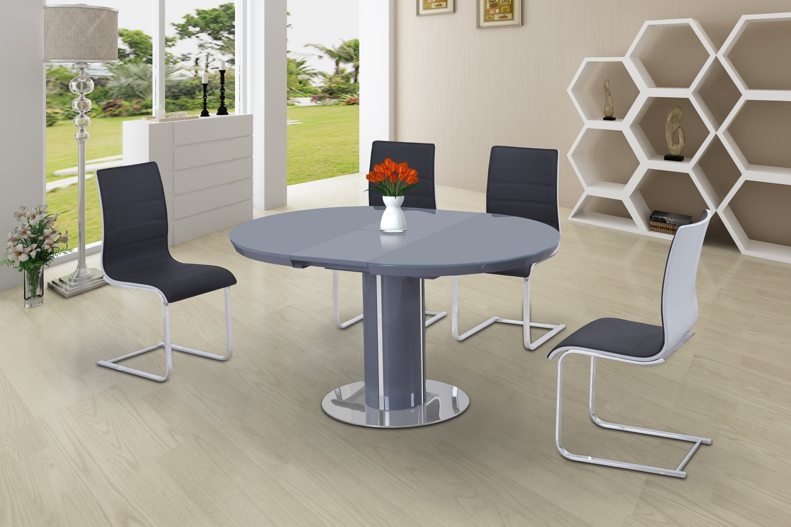 Round High Gloss Glass Dining And 6 Grey With White Chairs within Well known Grey Glass Dining Tables