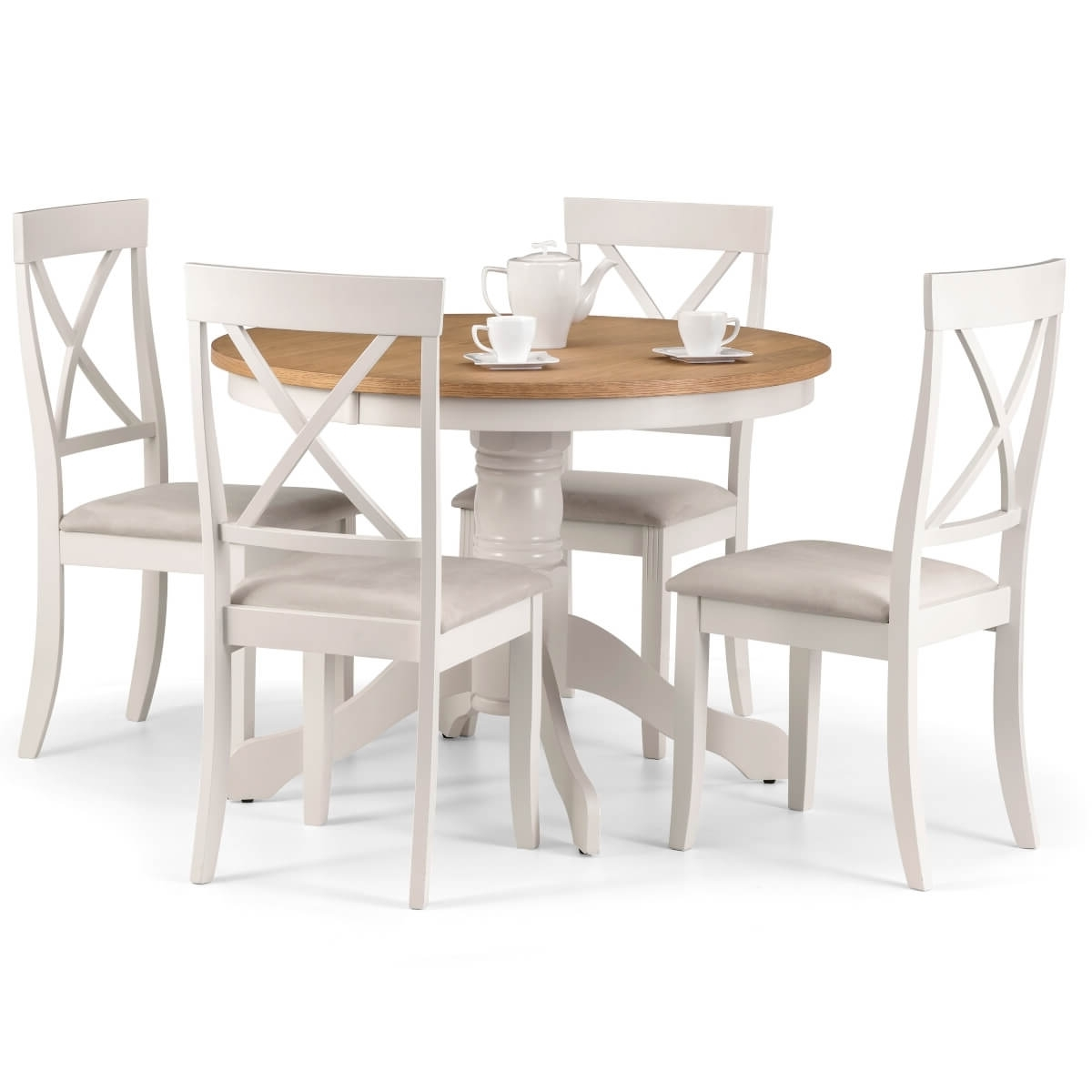 Round Oak Dining Tables And 4 Chairs Pertaining To Fashionable Dining Set – Davenport Dining Table And 4 Chairs In Ivory Oak Dav (View 18 of 25)