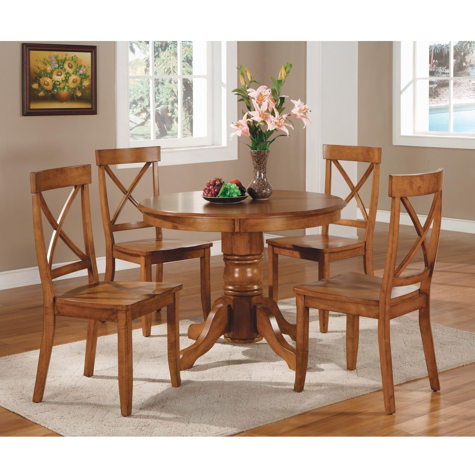Round Oak Dining Tables And Chairs In Most Popular Home Styles Pedestal Dining Table, Cottage Oak – Walmart (View 15 of 25)