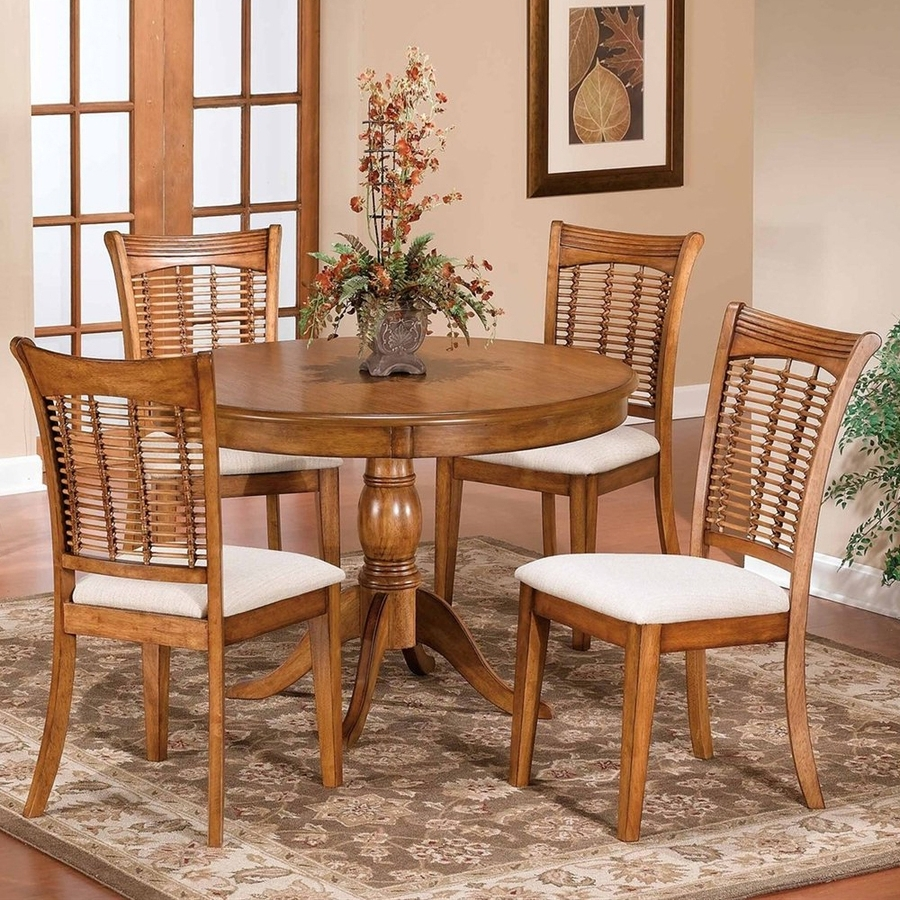 Round Oak Dining Tables And Chairs intended for Current Shop Hillsdale Furniture Bayberry Oak 5-Piece Dining Set With Round