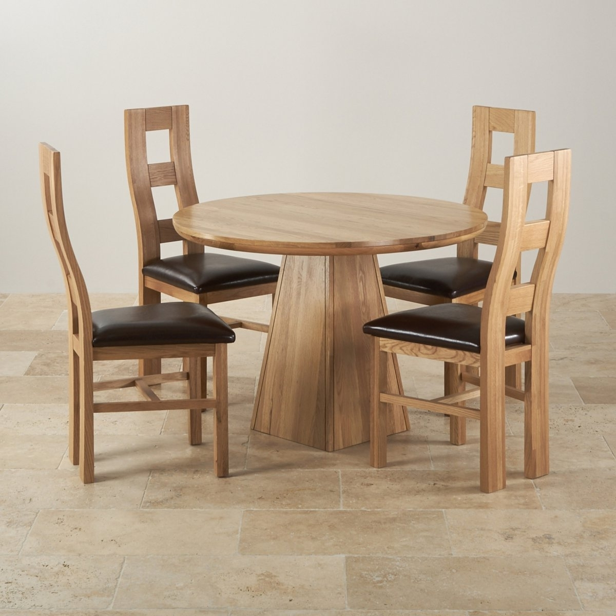 Round Oak Dining Tables And Chairs throughout Favorite Provence Solid Oak Dining Set 3Ft 7Quot; Table With 4 Chairs, Dining