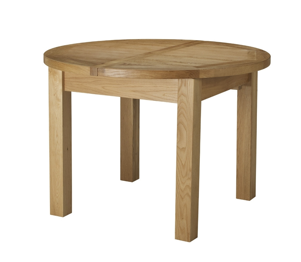 Round Oak Extendable Dining Tables And Chairs Throughout Widely Used Charltons Bretagne Solid Oak Round Butterfly Extending Dining Table (View 11 of 25)