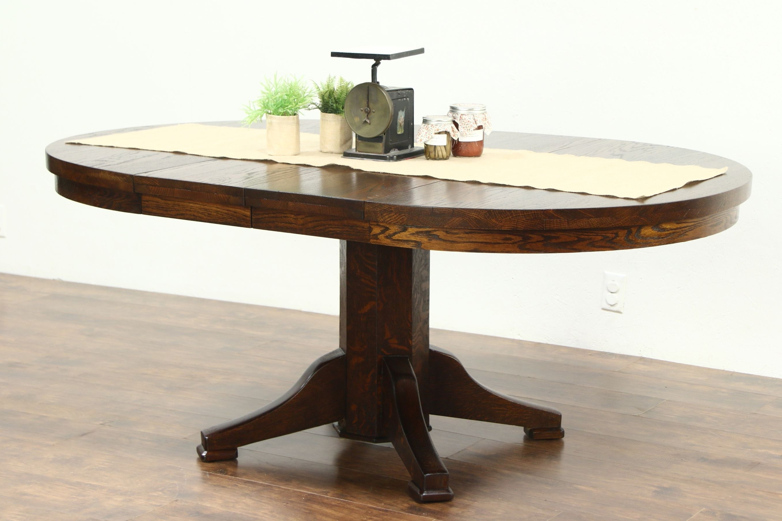 """Round Solid Oak 1910 Antique 45"""" Craftsman Dining Table, 2 Leaves For Favorite Craftsman Round Dining Tables (View 22 of 25)"""