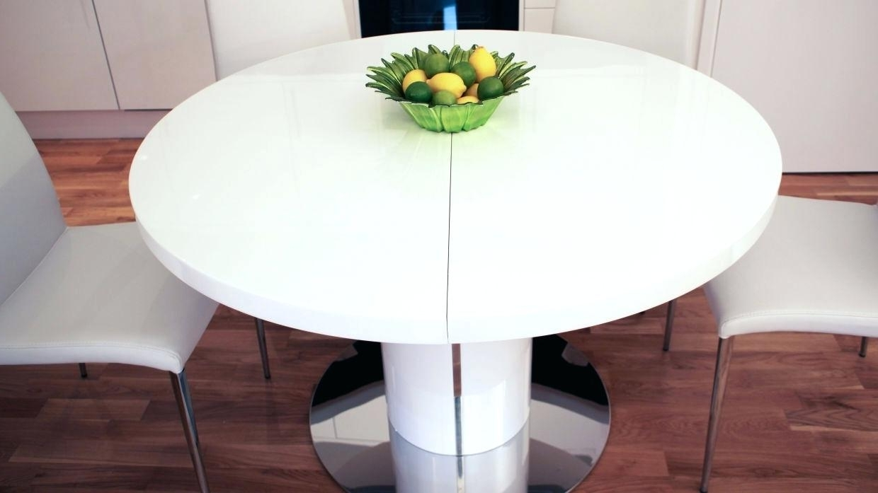 Round White Extendable Dining Tables For Most Recent Decoration: White Extendable Dining Table And Chairs Image Of Round (View 15 of 25)