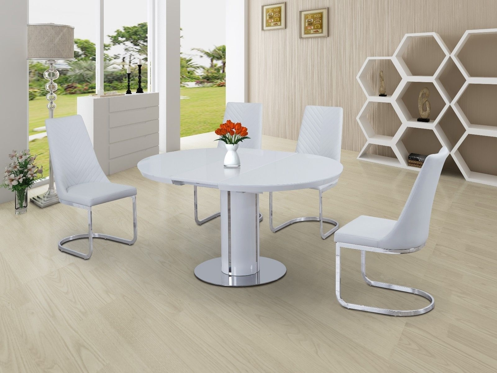 Round White High Gloss Dining Table Extendable With Chairs Option Throughout Well Liked Round White Extendable Dining Tables (View 13 of 25)