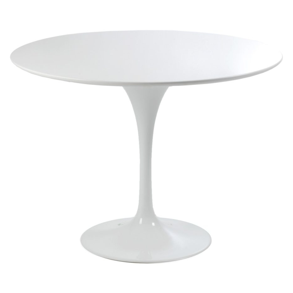 Rounded White Lacquer Melamine Dining Table With Round Pedestal With In 2017 White Melamine Dining Tables (View 15 of 25)