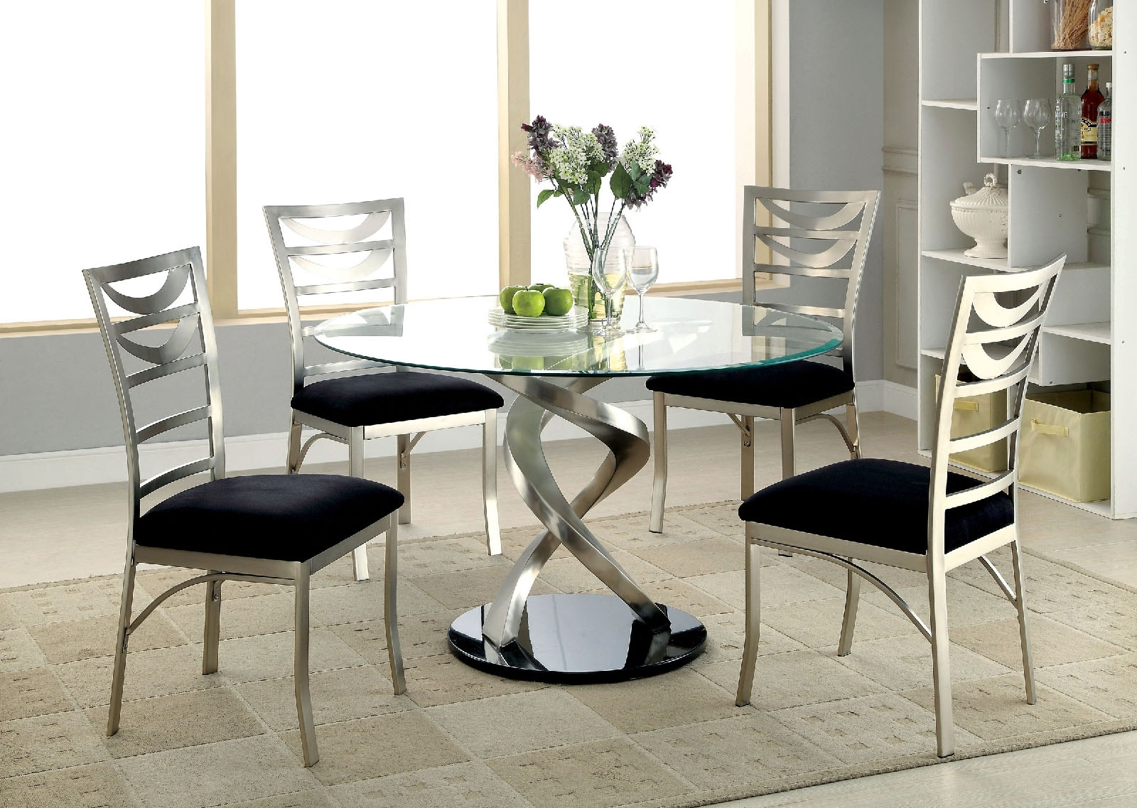 Roxo Round Glass Dining Tablefurniture Of America Cm3729T With Regard To 2017 Glass Dining Tables Sets (View 16 of 25)