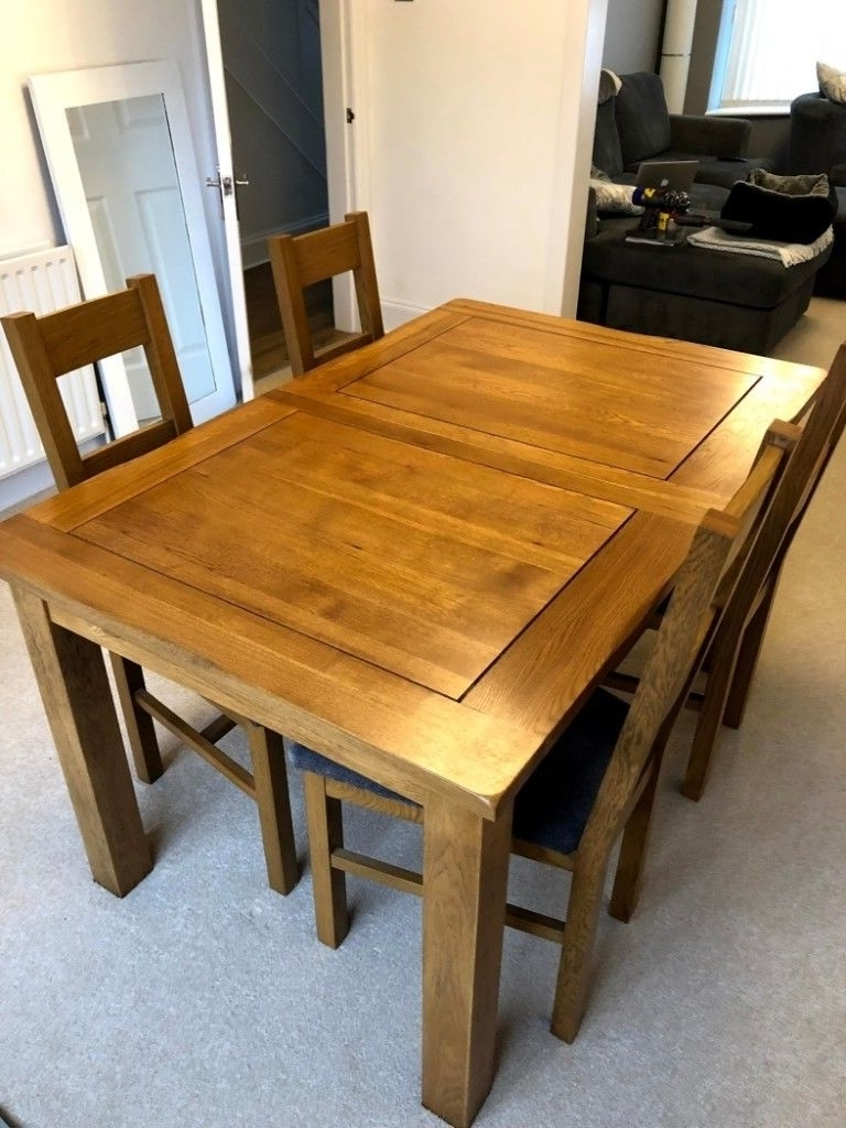 "Rushmere Rustic Solid Oak 4Ft 7"" * 3Ft Dining Table + 6 Farmhouse Inside Recent 3Ft Dining Tables (View 23 of 25)"