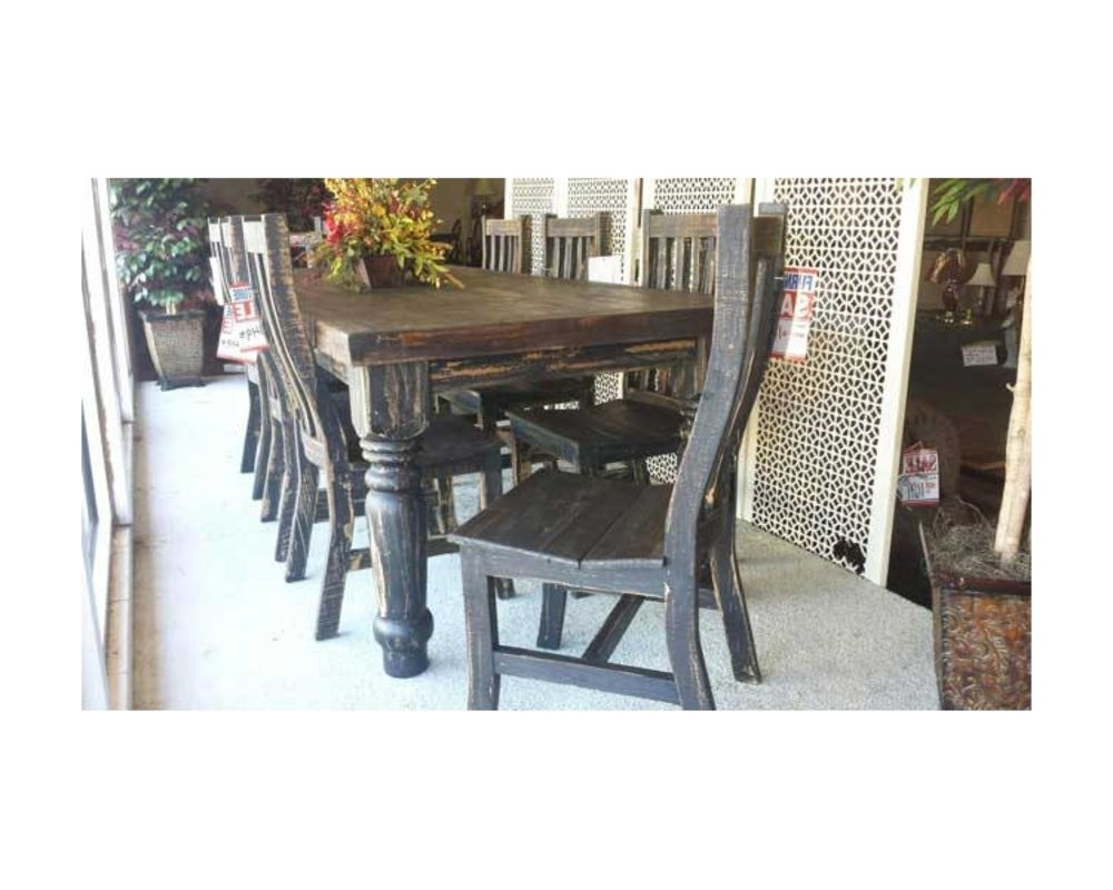 Rustic Dark Wood Dining Room Table W/ Chairs – Custom Furniture And Inside Newest Dark Wood Dining Room Furniture (View 19 of 25)