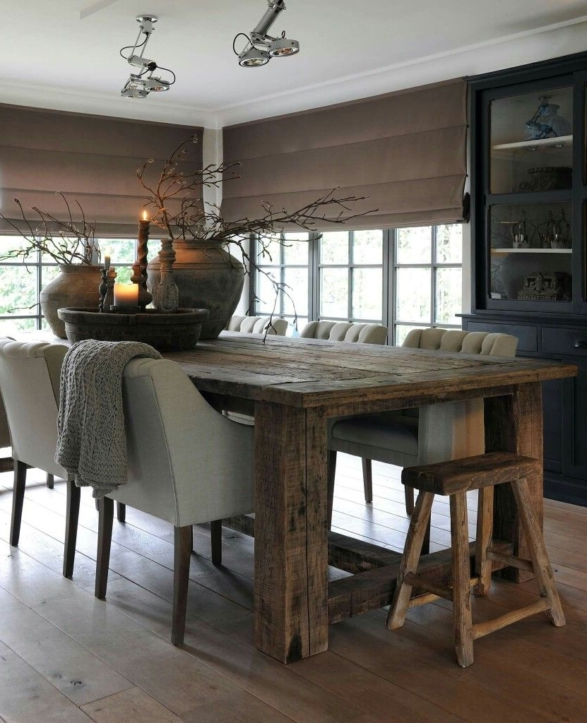 Rustic Dining Tables Inside Preferred Rustic Dining Table. Upholstered Tufted Chairs. Rustic Stool (View 15 of 25)