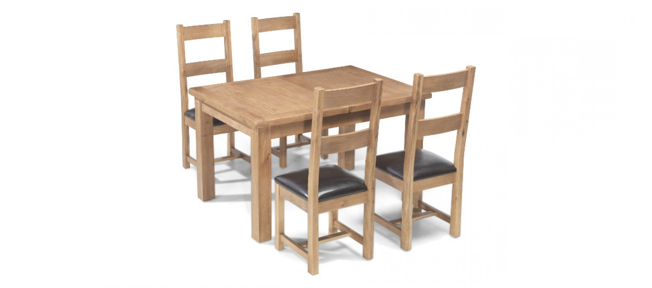 Rustic Oak 132 198 Cm Extending Dining Table And 4 Chairs (View 9 of 25)