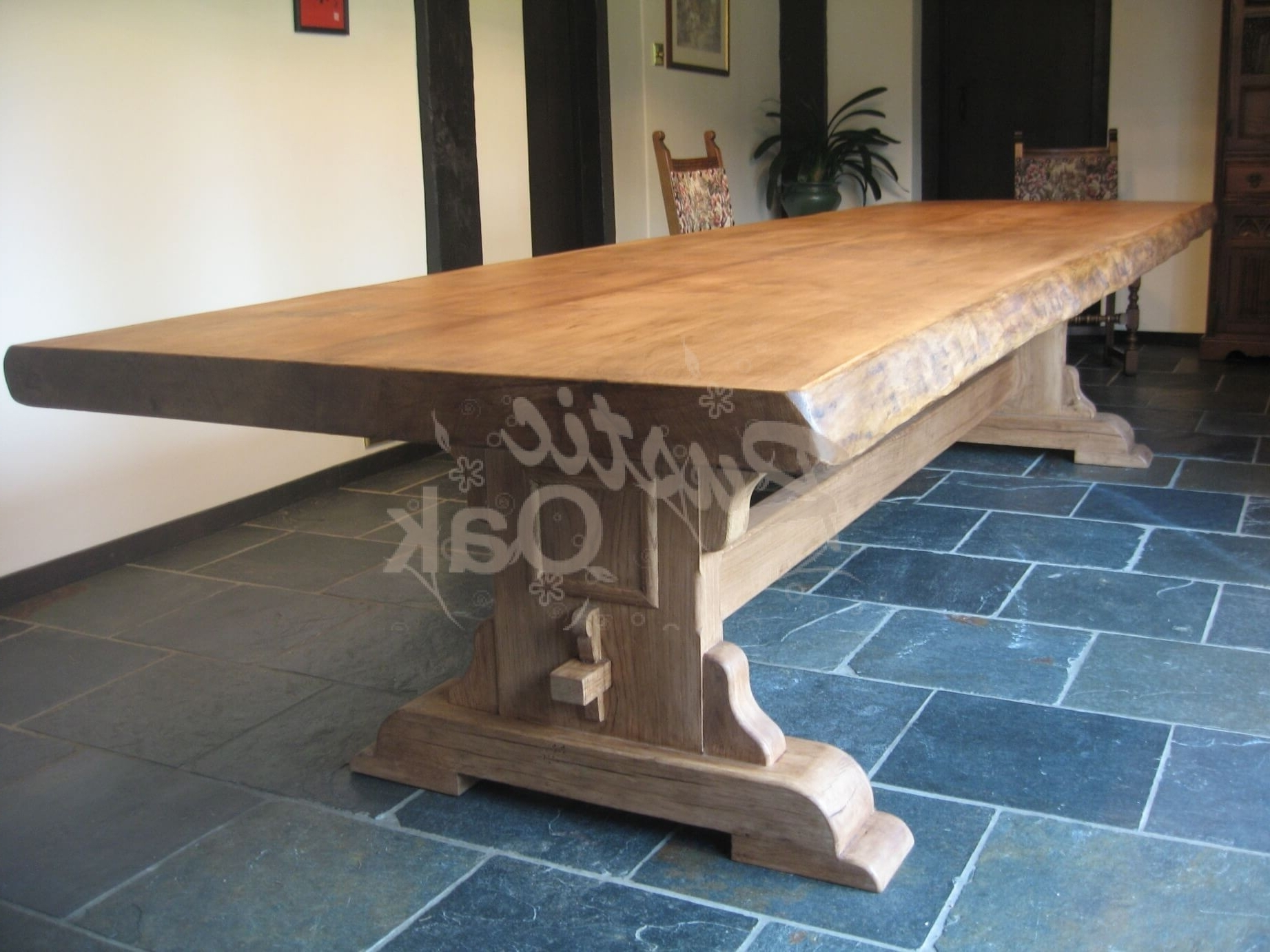 Rustic Oak – Bespoke Refectory Table – Waney Edges With Preferred Rustic Oak Dining Tables (View 17 of 25)