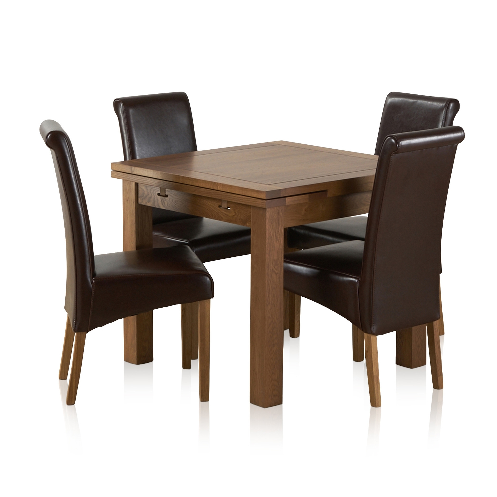 Rustic Oak Extending Dining Set – 3Ft Table + 4 Leather Chairs With Regard To Well Known Oak Extending Dining Tables And 4 Chairs (View 11 of 25)