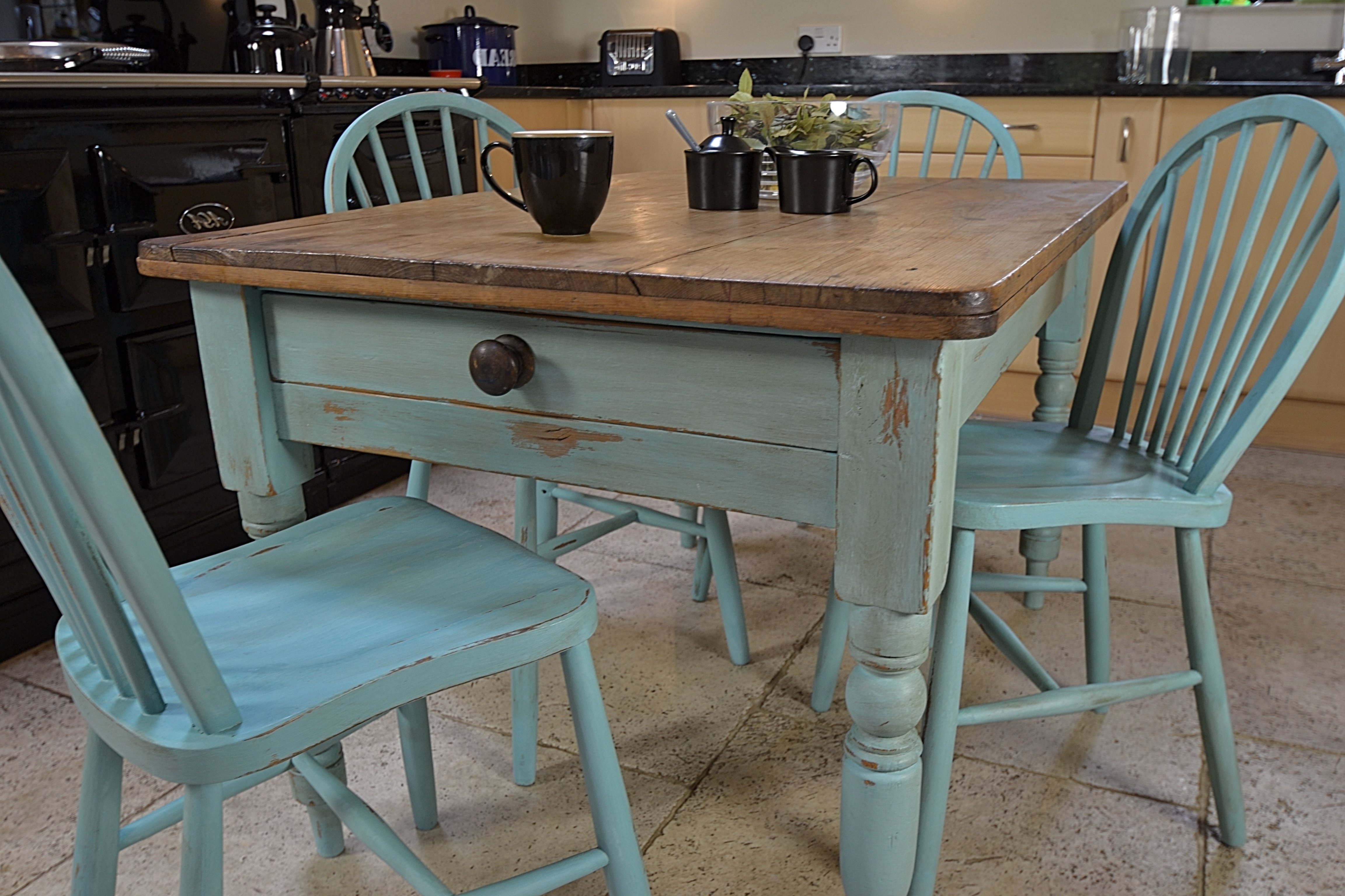Rustic Small Square Distressed Dining Table With Drawer And Light Intended For Most Recent Blue Dining Tables (View 10 of 25)