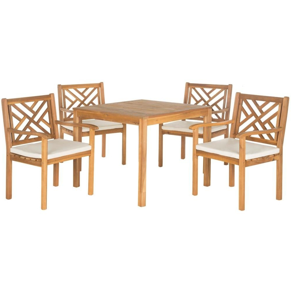 Safavieh Bradbury Teak Brown 5 Piece Patio Dining Set With Beige Throughout Trendy Outdoor Brasilia Teak High Dining Tables (View 11 of 25)