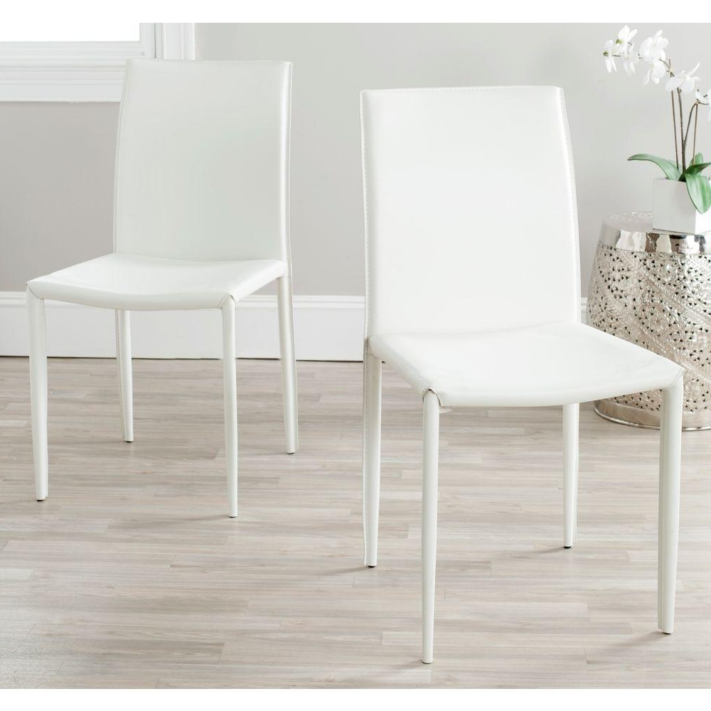 Safavieh Karna White Bonded Leather Dining Chair Fox2009A Set2 – The For Most Current White Leather Dining Chairs (View 14 of 25)