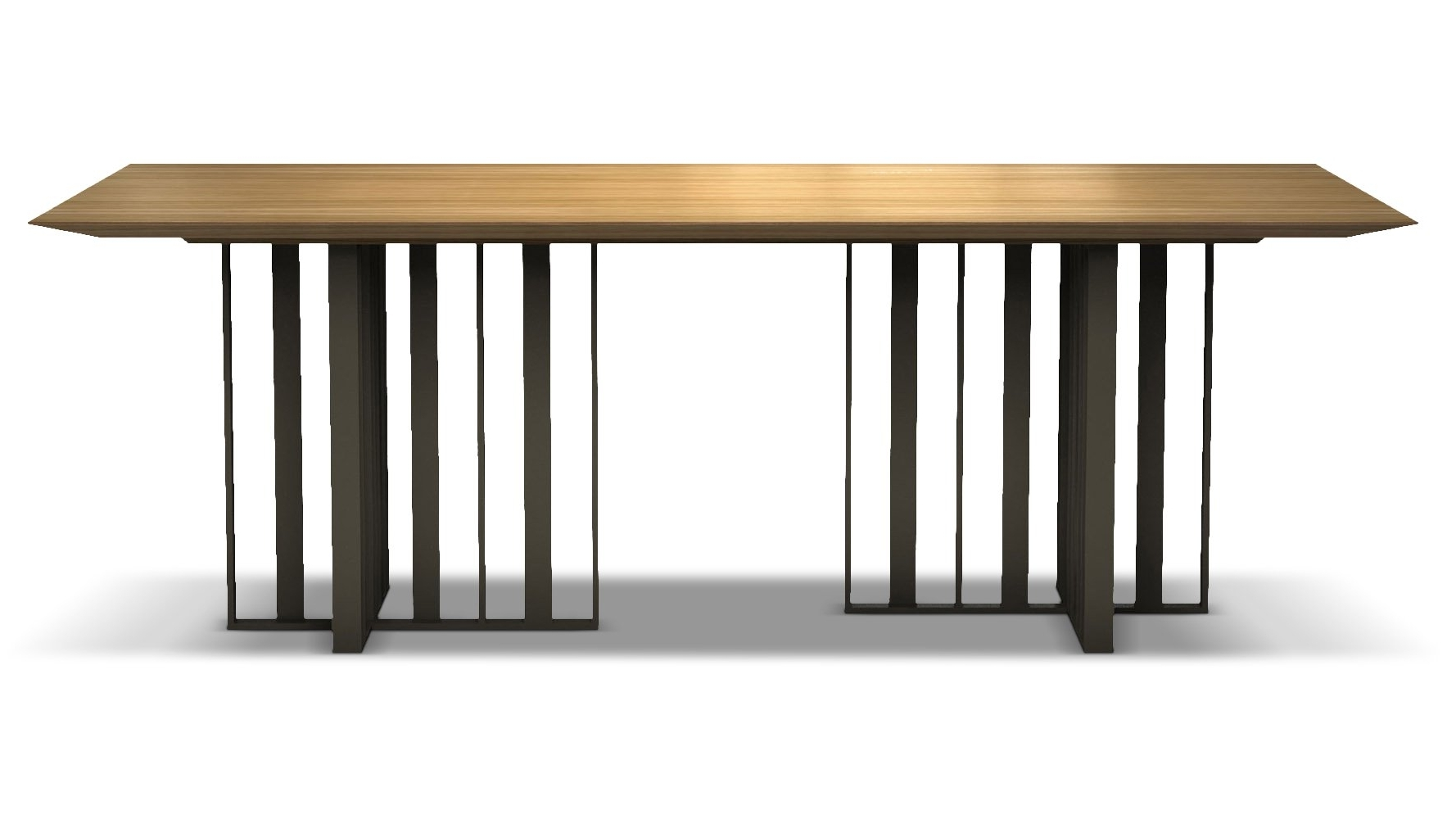 Saida 87 Inch Wood And Aluminum Dining Table, Natural Oak On Bronze With Most Recent 87 Inch Dining Tables (View 8 of 25)