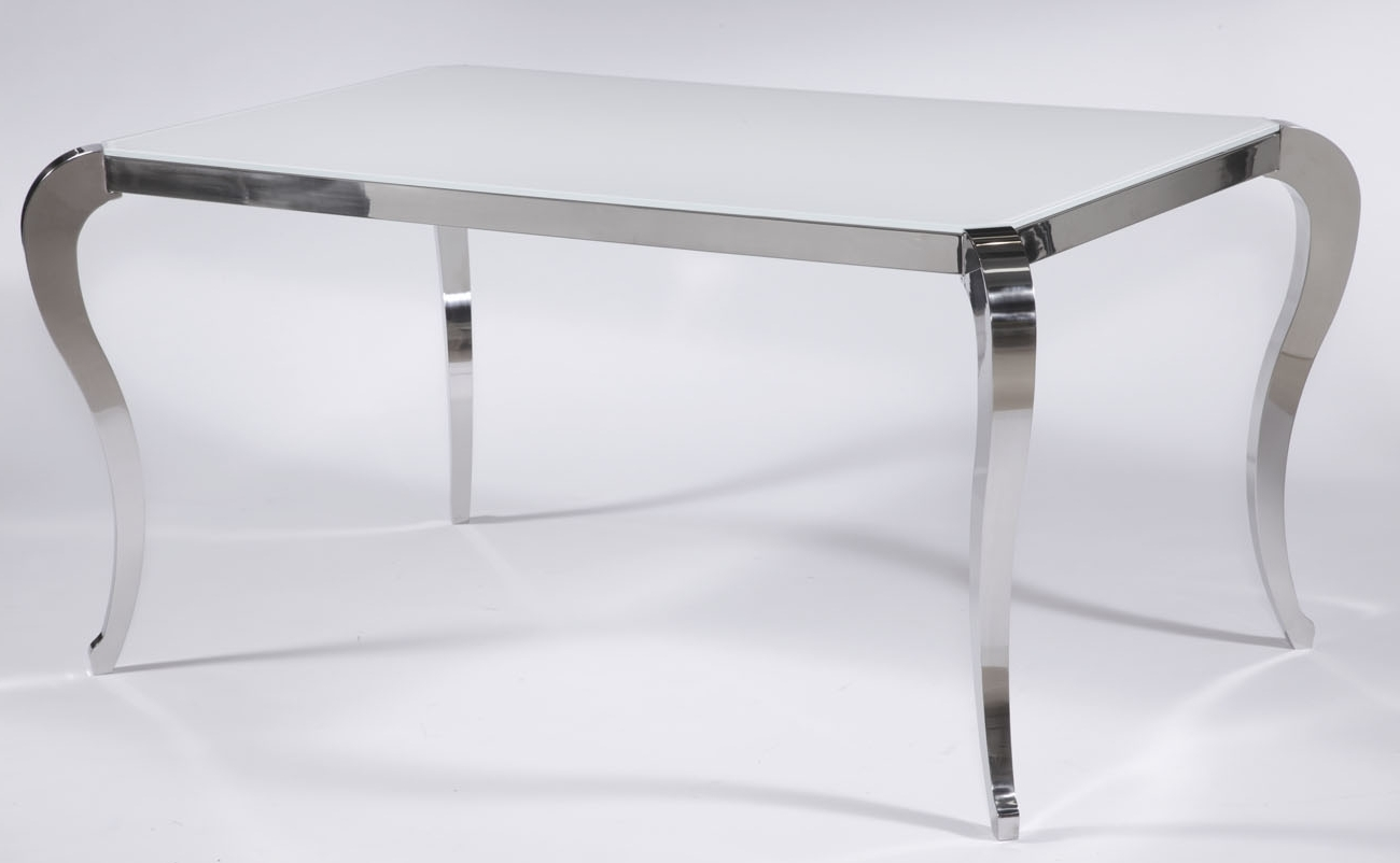 Santa Fe White Frosted Glass Contemporary Dining Table With Polished Inside Most Recent Chrome Dining Tables (View 17 of 25)