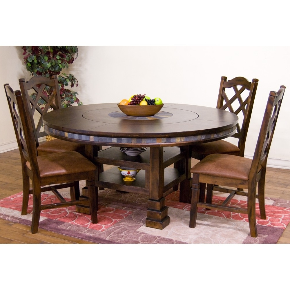 Santa Fe Wood Round Dining Table In Dark Chocolate With Regard To Trendy Wood Dining Tables (View 5 of 25)