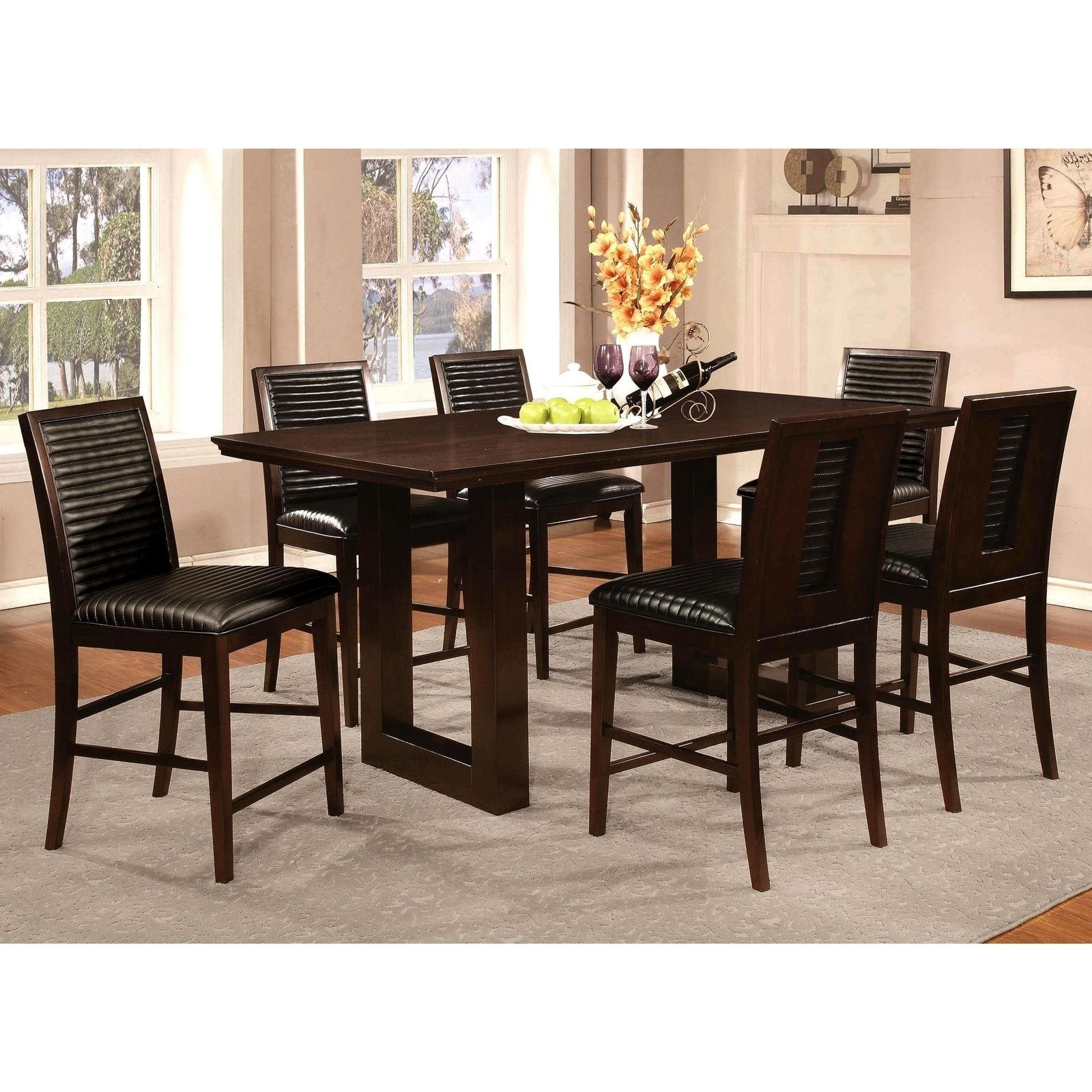 Sapire Channel Quilted Upholstered 7 Pc Counter Height Dining Set Inside 2017 Laurent 7 Piece Counter Sets With Upholstered Counterstools (View 4 of 25)