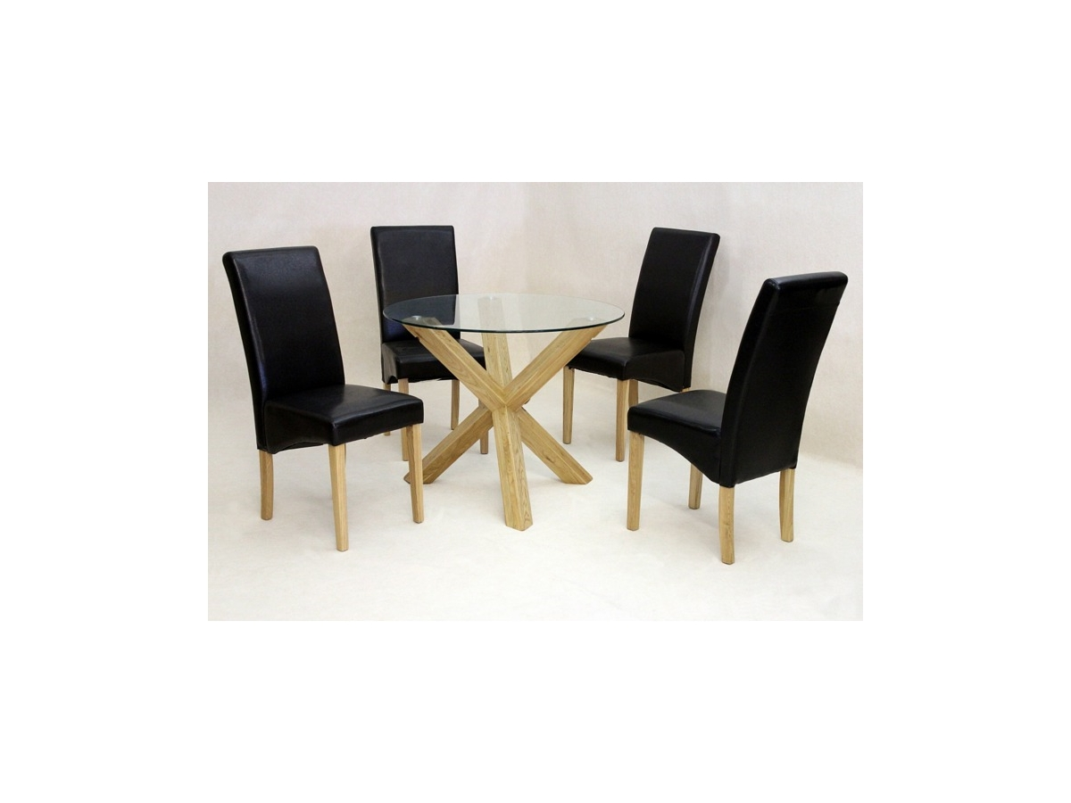 Saturn Small Glass Dining Table With Solid Oak Legs And 4 Chairs Inside Best And Newest Glass Dining Tables With Oak Legs (View 20 of 25)