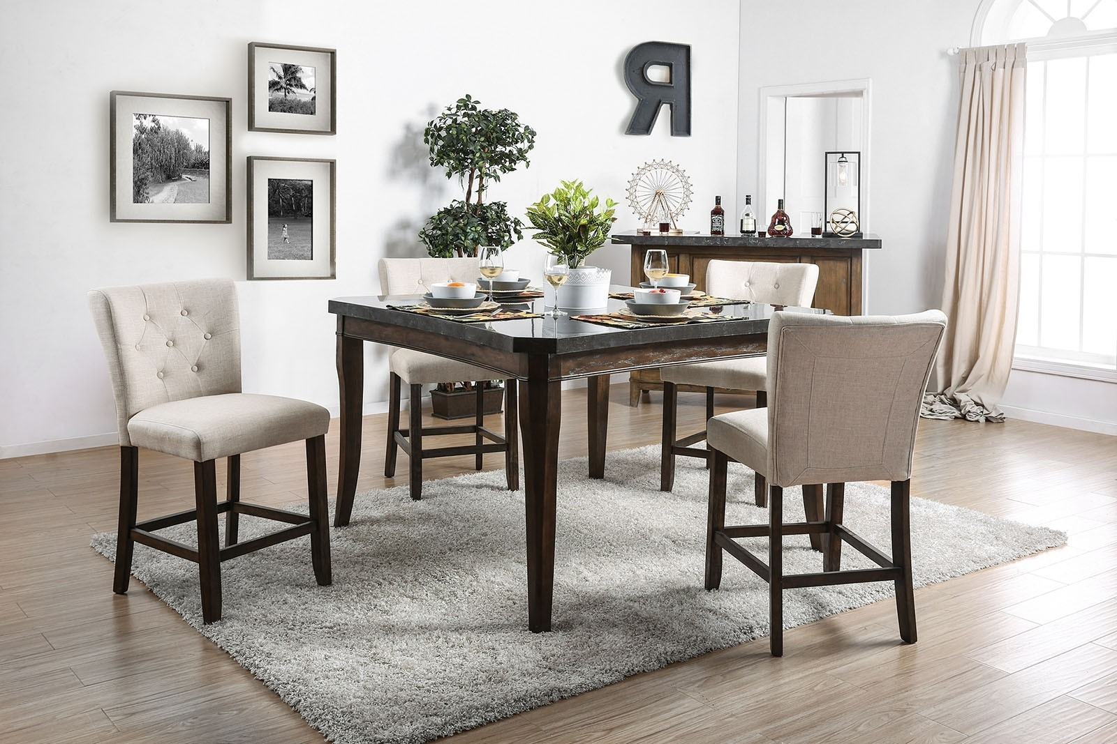 Schoten Transitional Style Dark Oak & Ivory Fabric 5Pc Counter For Trendy Dark Dining Room Tables (View 19 of 25)