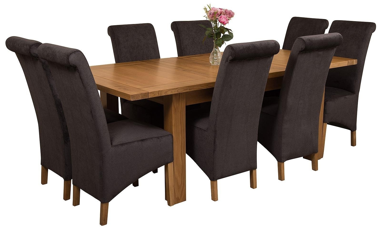 Seattle Dining Set With 8 Black Chairs (View 10 of 25)