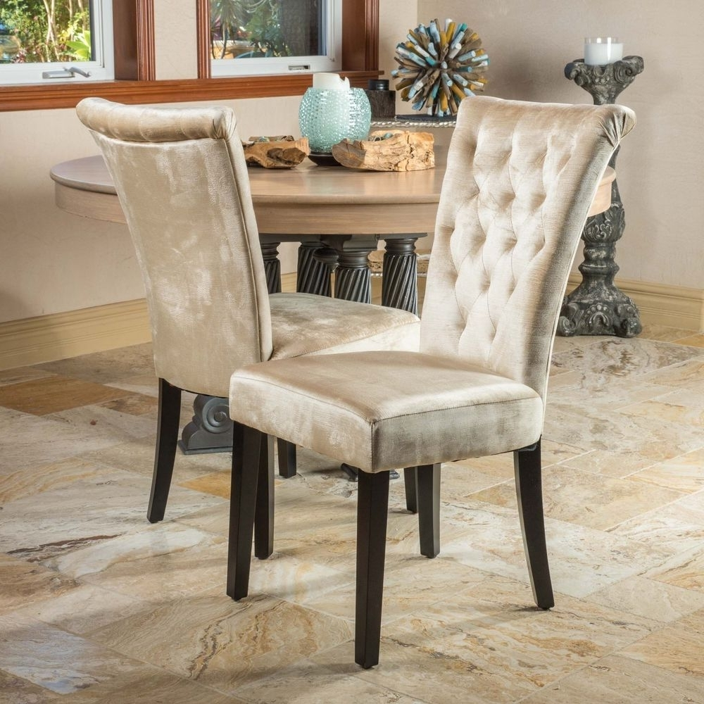 Set Of 2) Dining Room Champagne Velvet Dining Chairs W/ Tufted With Well Known Dining Chairs Ebay (View 19 of 25)