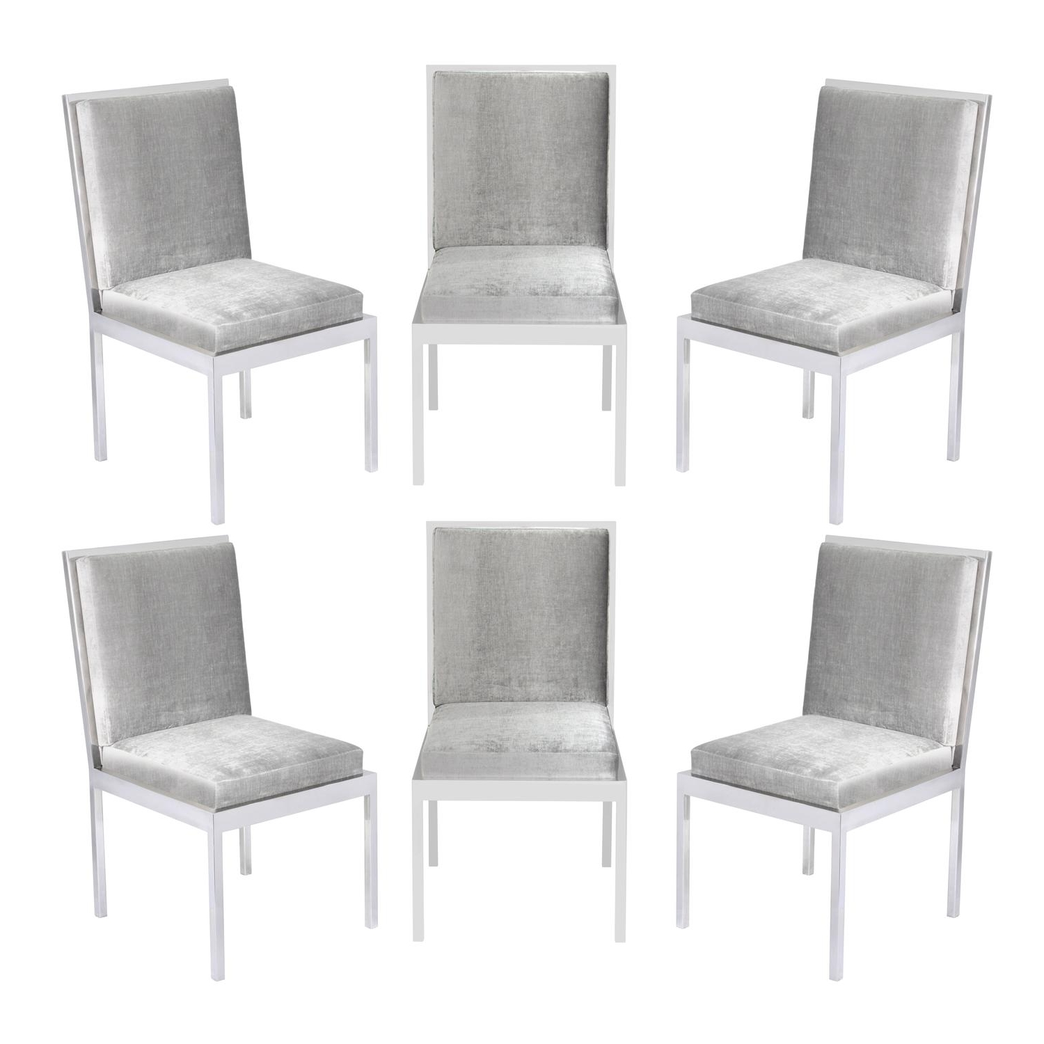 Set Of Six Dining Chairs In Polished Chromemilo Vintage Metal Within Best And Newest Chrome Dining Chairs (View 12 of 25)