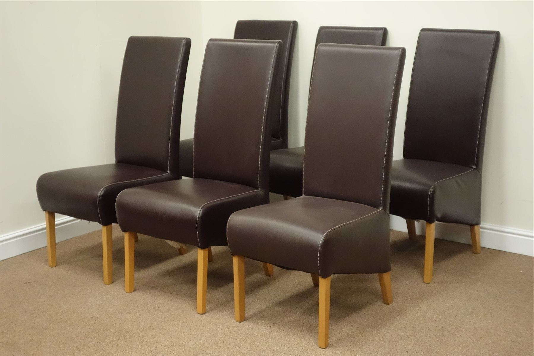 Set Six Oak Framed High Back Dining Chairs Upholstered In Brown Faux With Regard To 2017 High Back Leather Dining Chairs (View 14 of 25)
